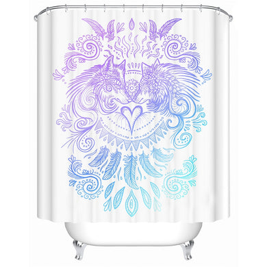 Wolves Heart by SunimaArt - White - Wolves and Feathers Shower Curtain - Waterproof