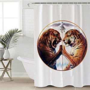 Peace by JoJoesArt - White - Two Tigers Shower Curtain - Waterproof - My Diva Baby