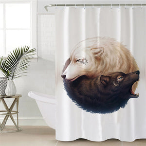 Yin and Yang Wolves by JoJoesArt - White - Wolf Shower Curtain - Waterproof - My Diva Baby