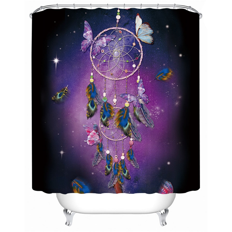 Bohemian Butterfly Dreamcatcher Shower Curtain - Waterproof