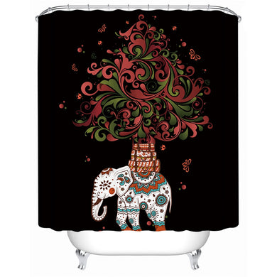 Indian Boho Elephant Shower Curtain - Waterproof - My Diva Baby