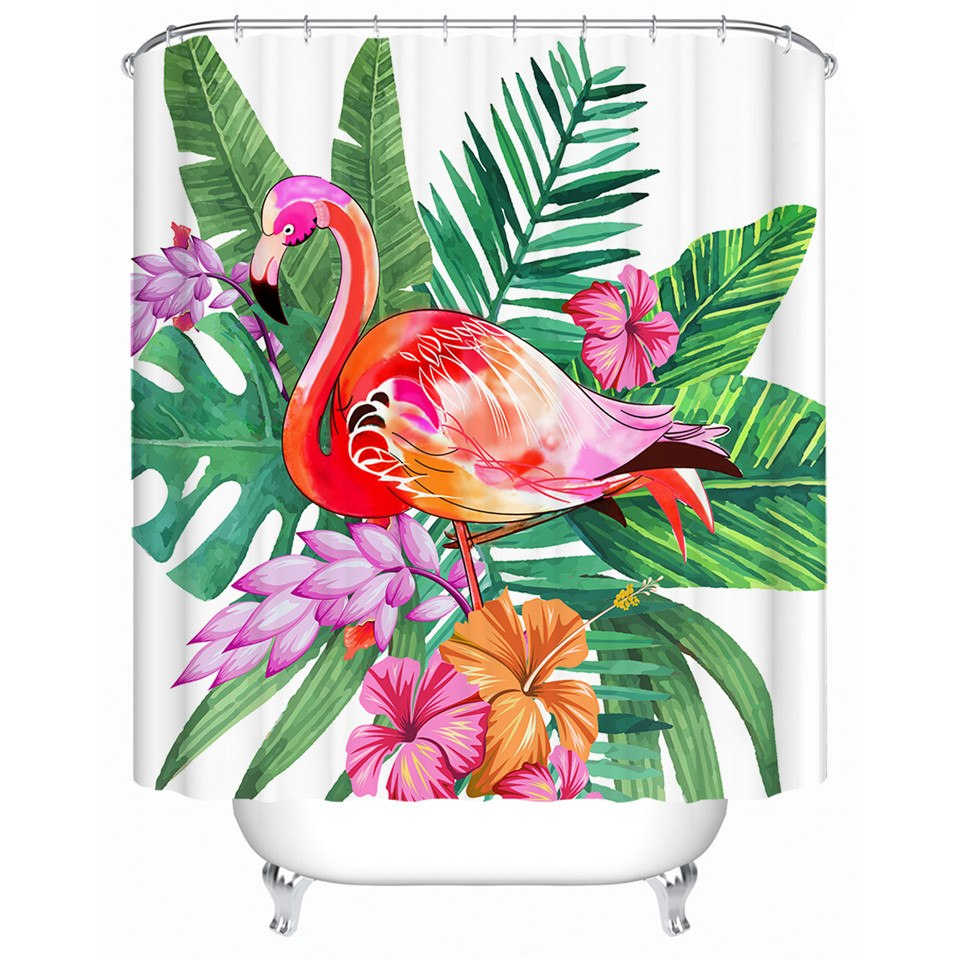 Tropical Flamingo Shower Curtain - Waterproof