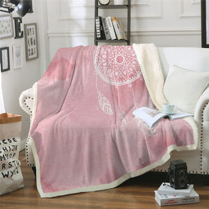 Pink Watercolour Dreamcatcher Sherpa Throw Blanket - My Diva Baby