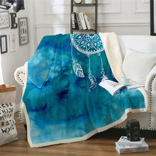Blue Watercolour Dreamcatcher Sherpa Throw Blanket - My Diva Baby