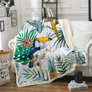 Tropical Toucan Birds Sherpa Throw Blanket - My Diva Baby