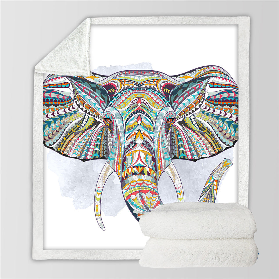 Bohemian Elephant Sherpa Throw Blanket - My Diva Baby