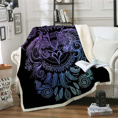 Wolves Heart by SunimaArt - Black - Sherpa Throw Blanket - 4 sizes