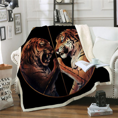 Peace by JoJoesArt - Black - Two Tigers Sherpa Throw Blanket - My Diva Baby