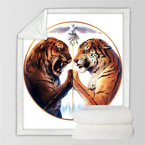 Peace by JoJoesArt - White - Two Tigers Sherpa Throw Blanket - My Diva Baby