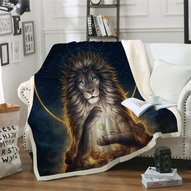 Soul Keeper by JoJoesArt - Lion God In The Sky Sherpa Throw Blanket - My Diva Baby