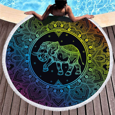 Rainbow Mandala Elephant Round Beach Towel 150cm With Tassels - My Diva Baby