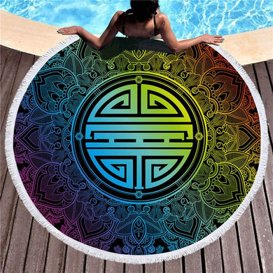 Rainbow Tribal Mandala Round Beach Towel 150cm With Tassels - My Diva Baby