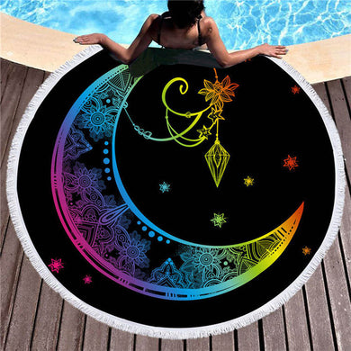 Rainbow Mandala Moon & Crystal Round Beach Towel 150cm With Tassels