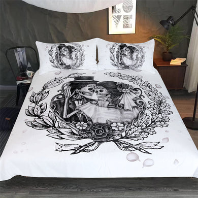 Vintage Sugar Skull Wedding Couple Doona Cover 3pc Set - My Diva Baby