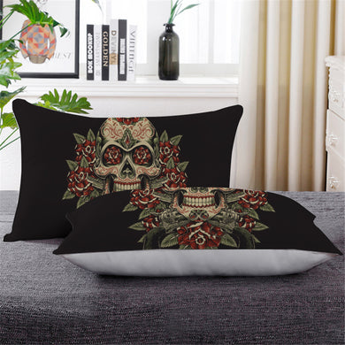 Vintage Red & Green Sugar Skull Pillowcase - Down Pillow 1 pc - My Diva Baby