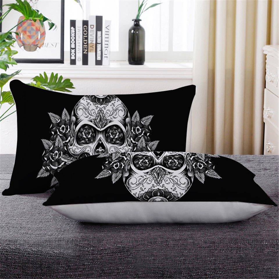 Vintage Black & White Sugar Skull Pillowcase - Down Pillow 1 pc - My Diva Baby