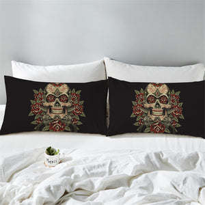Vintage Red & Green Sugar Skull Pillowcase 2pcs - My Diva Baby
