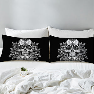 Vintage Black & White Sugar Skull Pillowcase 2pcs - My Diva Baby
