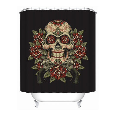 Vintage Red & Green Sugar Skull Shower Curtain - Waterproof - My Diva Baby