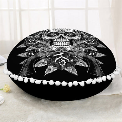 Vintage Black & White Sugar Skull Round Pillow Case/Cushion Cover - My Diva Baby