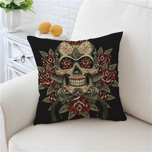 Vintage Red & Green Sugar Skull Cushion Cover - My Diva Baby