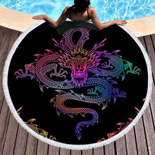 Mythical Chinese Dragon Round Beach Towel 150cm With Tassels - My Diva Baby