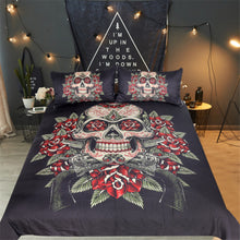 Vintage Red & Green Sugar Skull Doona Cover 3pc - My Diva Baby