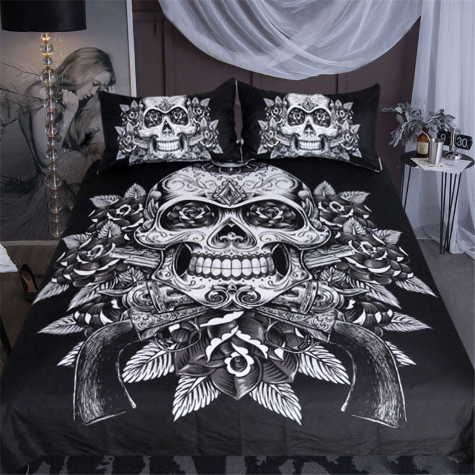 Vintage Black & White Sugar Skull Doona Cover 3pc - My Diva Baby