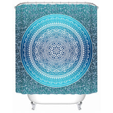 Blue on Blue Mandala Shower Curtain - Waterproof