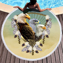 Eagles To The Power of 3 Round Beach Towel 150cm With Tassels - My Diva Baby