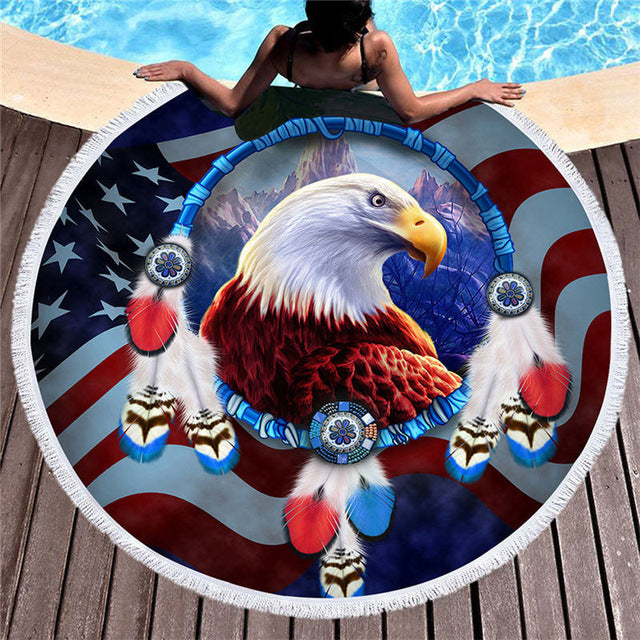 USA Flag & Eagle Round Beach Towel 150cm With Tassels - My Diva Baby