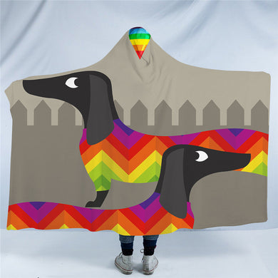 Rainbow Dachshund Hooded Blanket - 2 Sizes - My Diva Baby