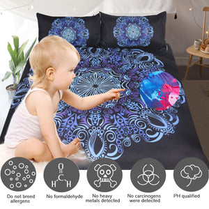 Blue and Purple Bohemian Mandala Doona Cover Set 3pc set - My Diva Baby