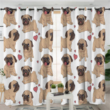 Fawn Pug - White - Curtains - My Diva Baby