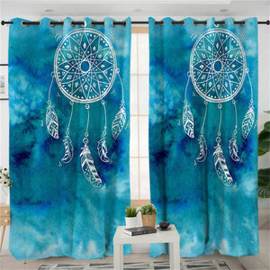 Blue Watercolour Dreamcatcher Curtains - My Diva Baby