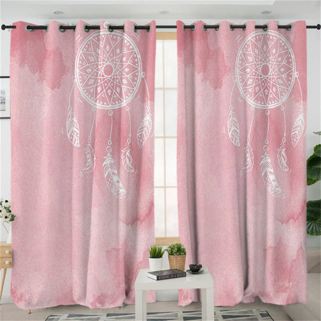 Pink Watercolour Dreamcatcher Curtains - My Diva Baby