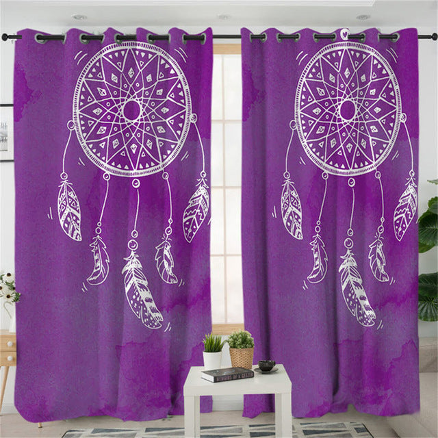 Purple Watercolour Dreamcatcher Curtains - My Diva Baby