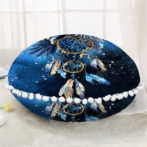 Blue Galaxy Dreamcatcher Round Pillow Case/Cushion Cover - My Diva Baby