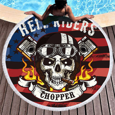 Chopper Hell Riders Round Beach Towel 150cm With Tassels - My Diva Baby
