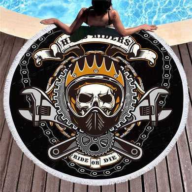 Hell Riders Ride or Die Round Beach Towel 150cm With Tassels - My Diva Baby