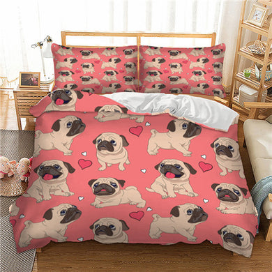 Fawn Pug - Pink - Doona Cover 2/3pc set - My Diva Baby