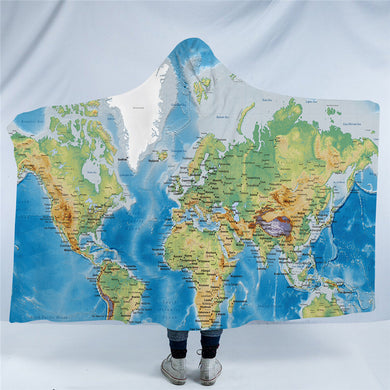World Map Hooded Blanket - 2 sizes - My Diva Baby