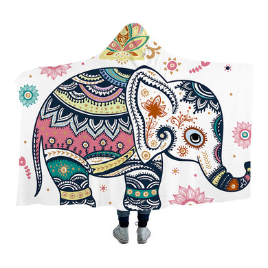 Cute Rainbow Elephant Hooded Blanket - 2 sizes - My Diva Baby