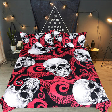 Octo Skulls - Red Tentacles - Doona Cover 3pc set - My Diva Baby