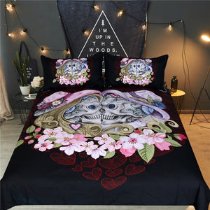 Vintage Sugar Skull Couple - Black - Doona Cover 3pc set - My Diva Baby