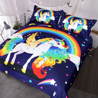 Rainbow Unicorn with Wings Doona Cover 3pc set - My Diva Baby