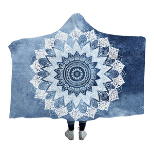 Blue Watercolour Mandala Hooded Blanket - 2 sizes - My Diva Baby