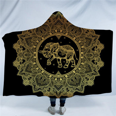 Golden Elephant Mandala Hooded Blanket - 2 sizes - My Diva Baby