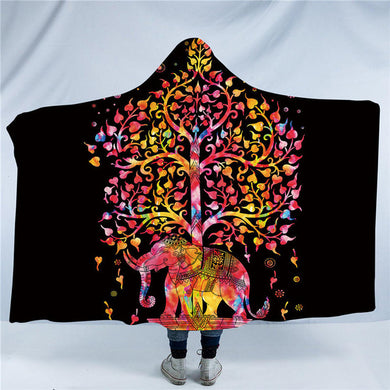 Boho Elephant - Black - Hooded Blanket - 2 sizes - My Diva Baby