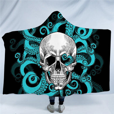 Octo Skull - Blue Tentacles - Hooded Blanket - 2 sizes - My Diva Baby